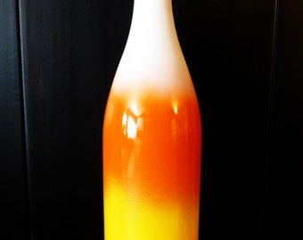 Upcycled Thanksgiving, Halloween, Harvest, Fall Candy Corn Tie Dye Wine Bottle Decor