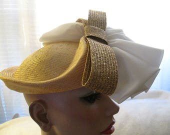 Vintage Ladies White/Gold/Straw Fabulous Hat by MR JOHN Classic