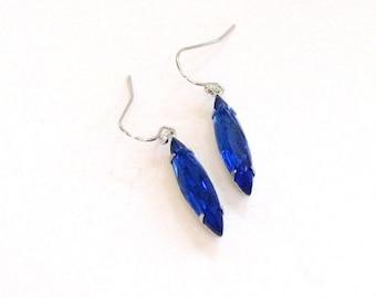 sapphire blue navette glass drop earrings . rhinestone earrings . wedding jewelry