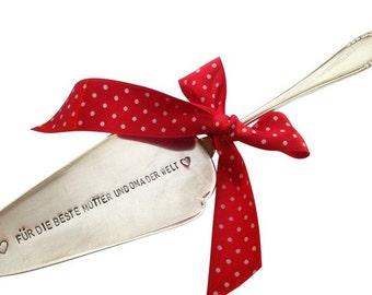 Cake knife with your desire inscription stamped