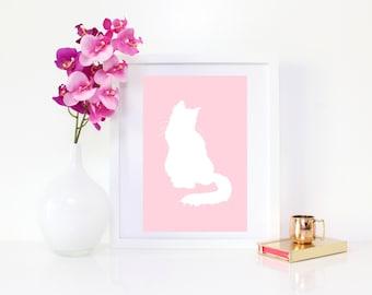 DIGITAL DOWNLOAD, Cat Art, Pink Cat, Cute Cat, Cat Wall Decor, Nursery wall decor, Cat lover