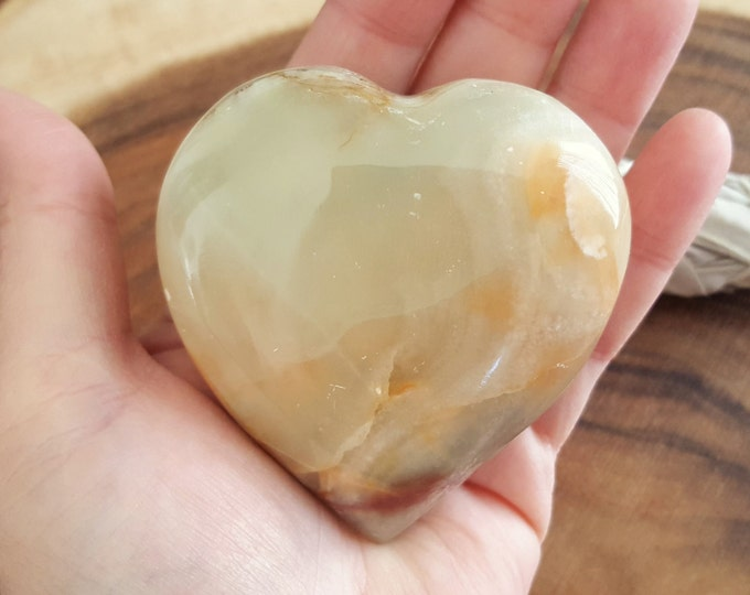 Pakistani Onyx Heart ~ One Reiki Infused gemstone heart approx 3 x 3 inches (PH22)