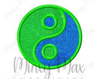 Yin Yang Applique Machine Embroidery Design 2.5x2.5 3x3 4x4 5x5 6x6 Ying Yang INSTANT DOWNLOAD