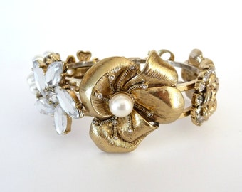 Vintage Flower Clamper Bracelet Gold Tone Metal Rhinestones Faux Pearls Bow from TreasuresOfGrace