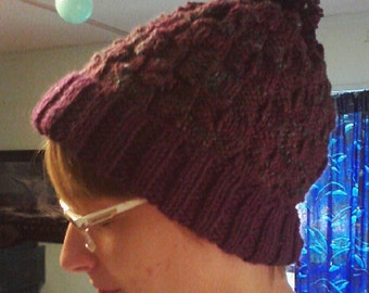 Burgundy Basket Weave Knitted Hat, Stocking Stuffer, Birthday Gift