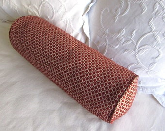 7x20 poppy brick/red chenille decorative Bolster Pillow