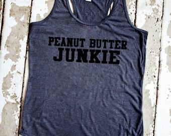 Gym Tank Top - Peanut Butter Junkie - Vintage Gray Racerback Tank