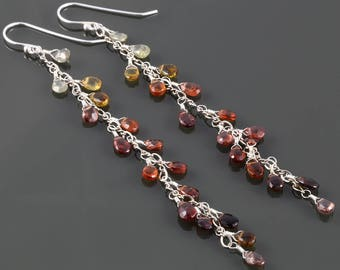 Very Long Sapphire Earrings. Sterling Silver. Genuine Gemstones. Multi Color. September Birthstone. f17e010