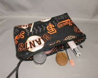 Giants Cosmetic Bag - Makeup Bag - Large Zipper Pouch - San Francisco Giants Baseball