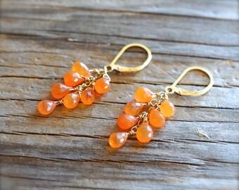 Carnelian earrings. Gold carnelian cascade earrings. Carnelian briolette earrings Sterling silver orange gemstone carnelian cluster earrings