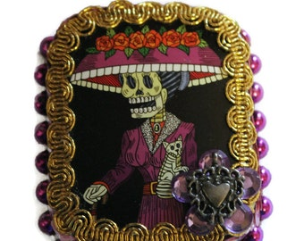 La Catrina, Sugar Skull, Mexican Tin, Day of the Dead, Mexican Catrina, Mexican Kitsch, Tin Box, Mexican Wedding Favor, Mexican Folk Art