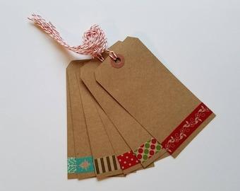 Holiday Washi Tape Gift Tags Set of 6 Extra Large Kraft Seasonal Tag Wine Tag Shipping Tag Christmas Tag