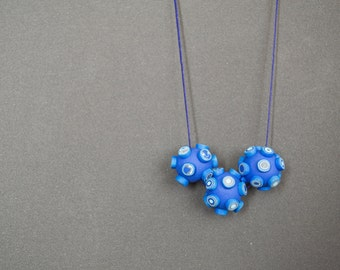 Geometric necklace Blue necklace Beaded necklace Beadwork necklace Polymer clay necklace Indigo blue necklace Simple necklace minimalist