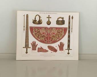 1894 german crown jewels original antique culture llithograph print reich culture