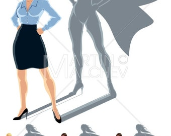 Woman Superhero Concept - Illustration. businesswoman, business, manager, superheroine, super, heroine, hero, undercover, shadow, success