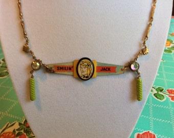 Smilin' Jack 1948 metal cereal ring necklace