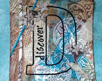 Mixed media 'discover' alphabet outline art