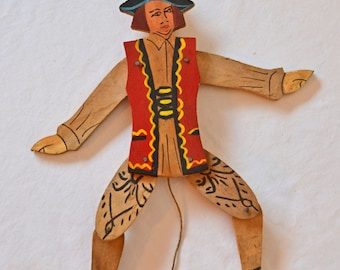 Vintage Wooden Pull String Puppet, Articulated Hand Made, Hand Painted Wooden Puppet