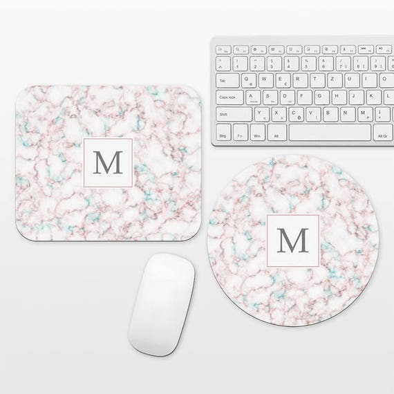 Marble Monogram Mouse Pad Custom Mouse Pad Monogrammed Mousepad Personalized Mouse Mat Round Circle Rectangle Rectangular Pink Aqua