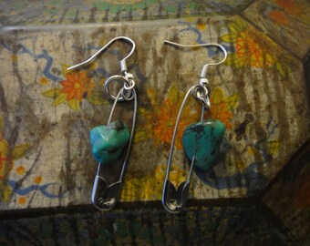 Turquoise Gemstone & Safety Pin earrings