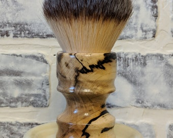 Beautiful Vintage Style Turned Stabilized Spalted Hackberry Shaving Brush with 30mm synthetic Badger hair Mag-Knot