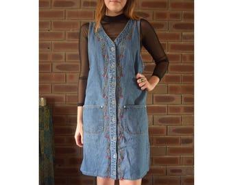 90s grunge embroidered denim button down dress