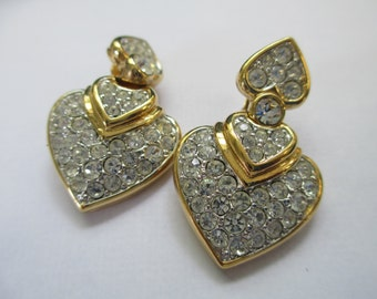 Vintage classic double heart crystal clip on bridal earrings 1 1/2 inch no markings