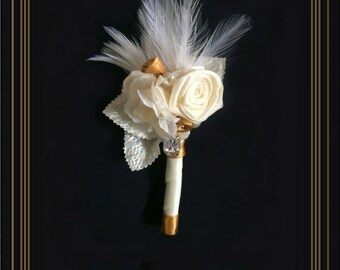 Boutonniere, Gatsby Boutonniere, Hollywood Glam Boutonniere, Can Be Made In Other Colors & Made to Match Bouquet