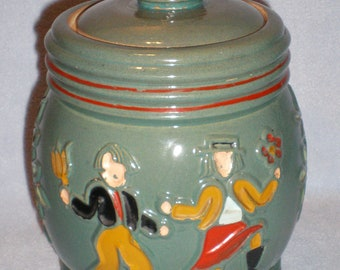 Antique Pottery Stoneware Folk Art Humidor Cookie Jar