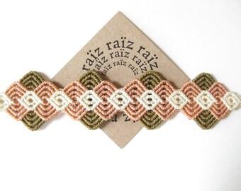 Woven Textile Bracelet . Pastel Fiber Jewelry . Micro Macrame . Boho Chic . by .. raiz ..