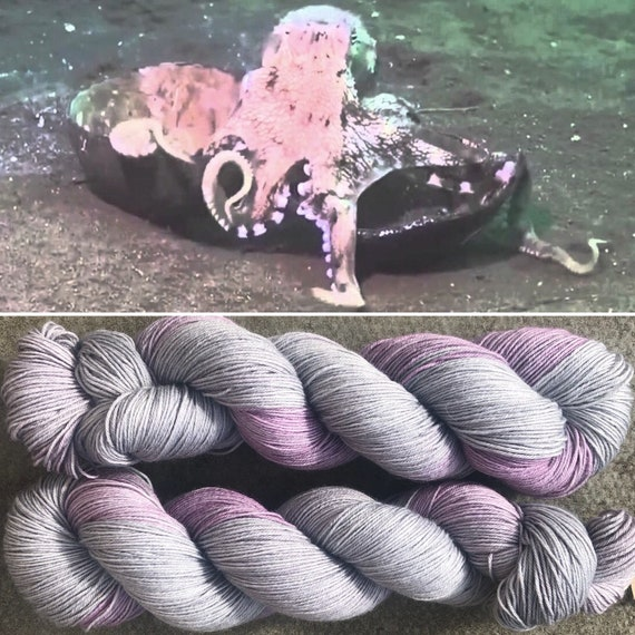 Coconut Octopus BFL, grey gray pink bluefaced leicester nylon sock yarn
