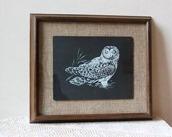 Welsh Slate Owl Etched Gloddfa Glanol Wales Signed G P