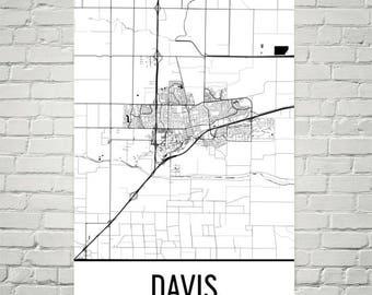 Davis Map, Davis Art, Davis Print, Davis CA Poster, Davis Wall Art, Davis Gift, Map of California, California Poster, UC Davis