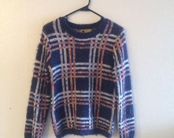 Katsumi fuzzy purple with rainbow & white grid print crew-neck pullover sweater