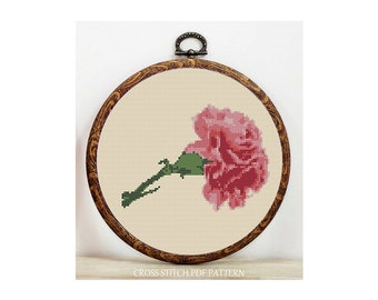 Carnation-Cross Stitch Pattern-Modern Sampler-Pdf-Instant Download