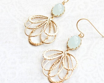 Seafoam Mint Glass Earrings Gold Filigree Dangle Earring Pretty Modern Gold Feather Nickel Free Bridal Jewelry Bridesmaid Gift for Women Her