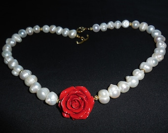 White Baroque Pearls and Carved Coral Flower Necklace