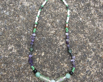 Green and Purple Beaded Necklace With Hearts
