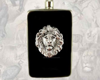 Neo Victorian Lion Flask with Cigarette Case Wallet Inlaid in Hand Painted Black Enamel Leo Flask Custom Colors and Personalized Options