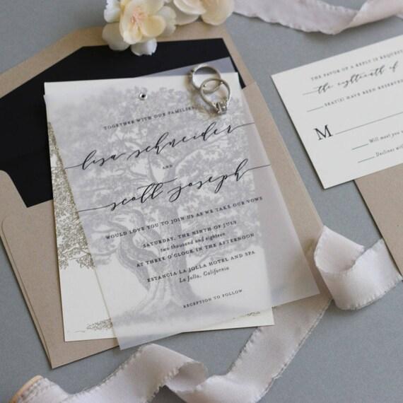 Oak tree wedding invitation vellum wedding invitation tree invitation vellum with grommet modern calligraphy outdoor wedding sample