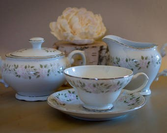 Vintage Tea set - Sheffield Fine China Classic 501 Pattern with Pink and White Roses