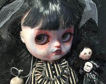"OOAK Custom Blythe Art Doll ""Betsie and her doll Boo""  by Bravura Dolly"