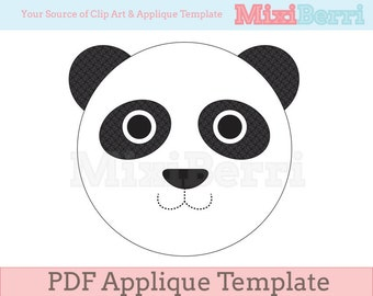 Panda Applique Template PDF