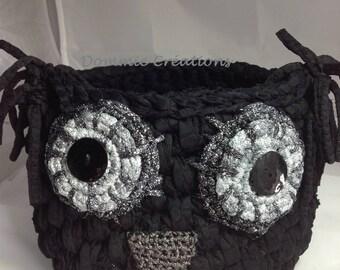Basket - OWL - violet and black silver