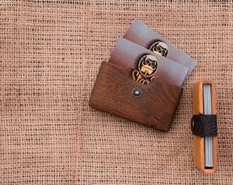 Wooden wallet,Minimalist Wallet,wallet for him,card holder mens,Business card case,business card case wallet,Wood Card Case,card wallet him