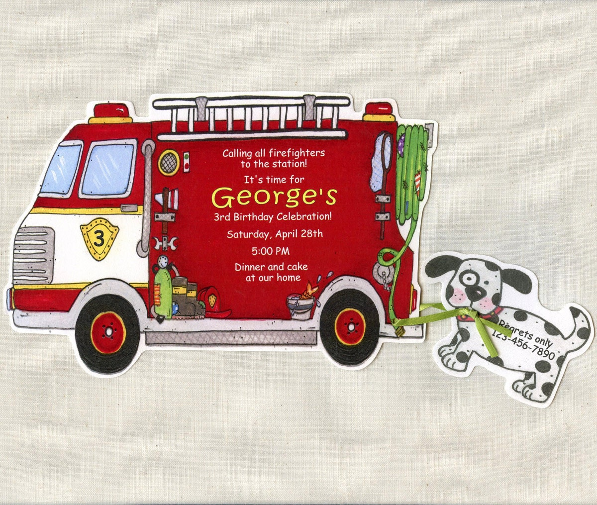 15 Fire Truck Boy Birthday Party Invitations | Personalized ...