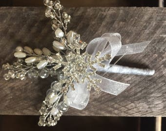 Boutonniere in silver with large diamante snowflake and silver, IVORY and clear crystals. Winter wedding. Christmas wedding. Buttonhole.