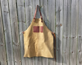 Leather Crafters Apron, Medium Weight Body, Durable Adjustable Straps, Smartphone/Notebook Pocket, Pen/Pencil Pocket,
