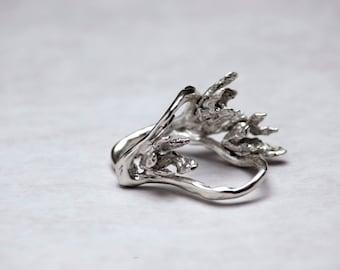 Ziba Khatibi Sterling Silver Freeform Floral Ring