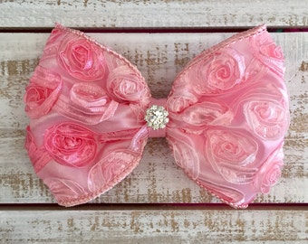 Rosette Light Pink Hair Clip, Rosette Hair Bow, Pink Rosette Hair Bow, Satin Hair Bow, Hair Bow Clip, Little Girl Hair Bow, Large Hair Bow